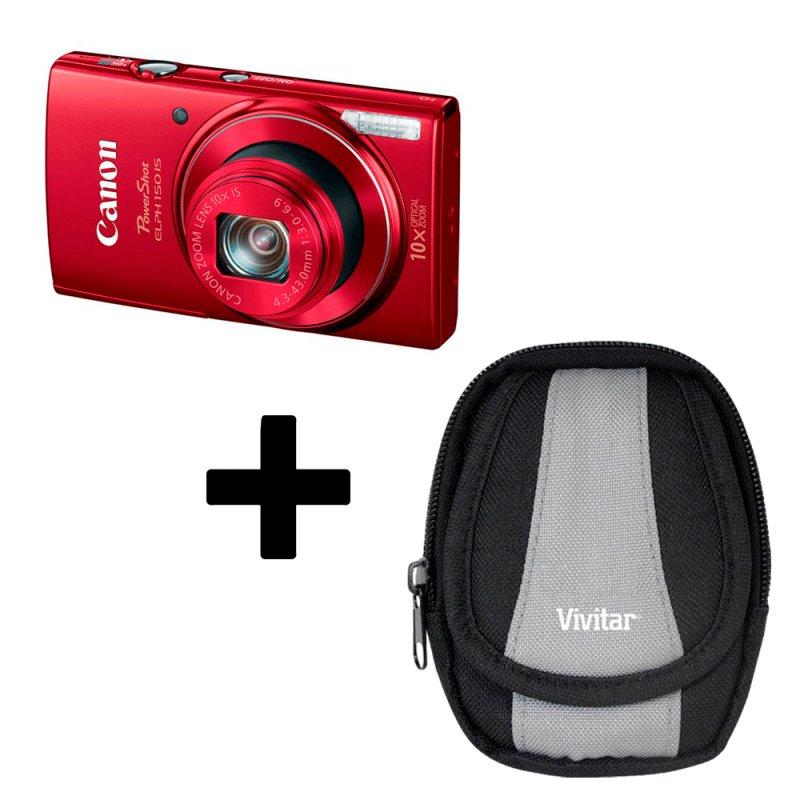 Kit Câmera Digital Powershot Elph 150IS 20 MP Vermelho com Estojo Para Câmera Digital VIVBTC3SA
