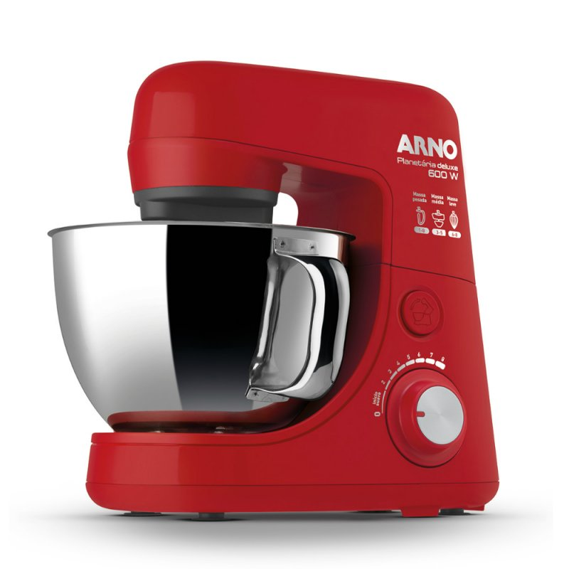 Batedeira Arno Planetária New Deluxe Inox 8 Velocidades 600w Vermelha