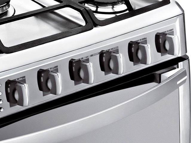 Fogão de Piso 5 Bocas 2 Fornos com Grill 220V Inox - Ge