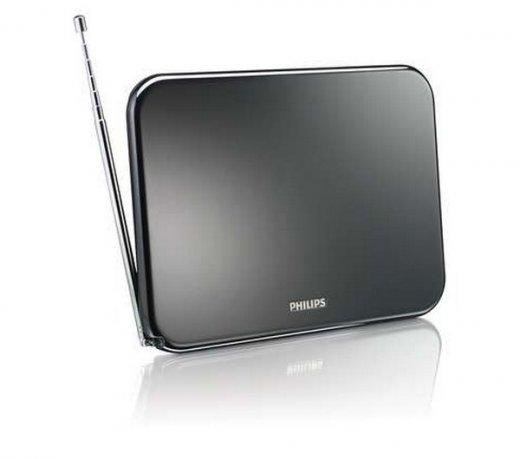 Antena de TV Digital Philips / Amplificada 25 Db Interna / Imagem e som Digitais / Preto