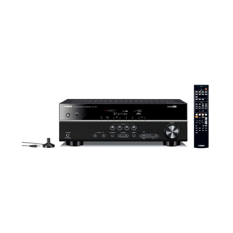 Receiver Yamaha RX V377BL 5.1 Canais USB Extra Bass 4K Ultra Hd Preto