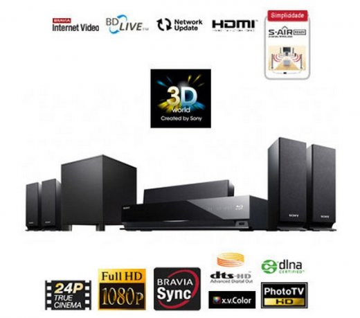 Home Theater Sony Blu-Ray / 3D / USB / HDMI / 850W Rms / 5.1 Canais/ BDV-E370