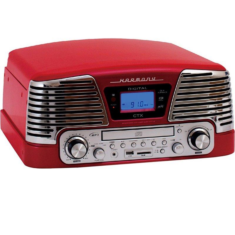 Toca Discos Vintage Anos 50 CTX Harmony com 3 velocidades FM, CD Player, USB, SD Card, Gravação Verm