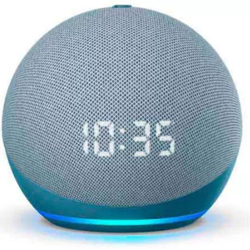 Echo Dot 4ª Geração Smart Speaker Com Relógio E Alexa - Cor Azul