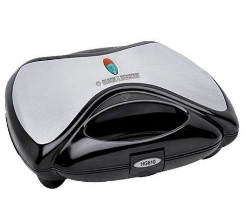 Sanduicheira Black & Decker HG610 / Controle de Temperatura / Cinza com Preto / 110V