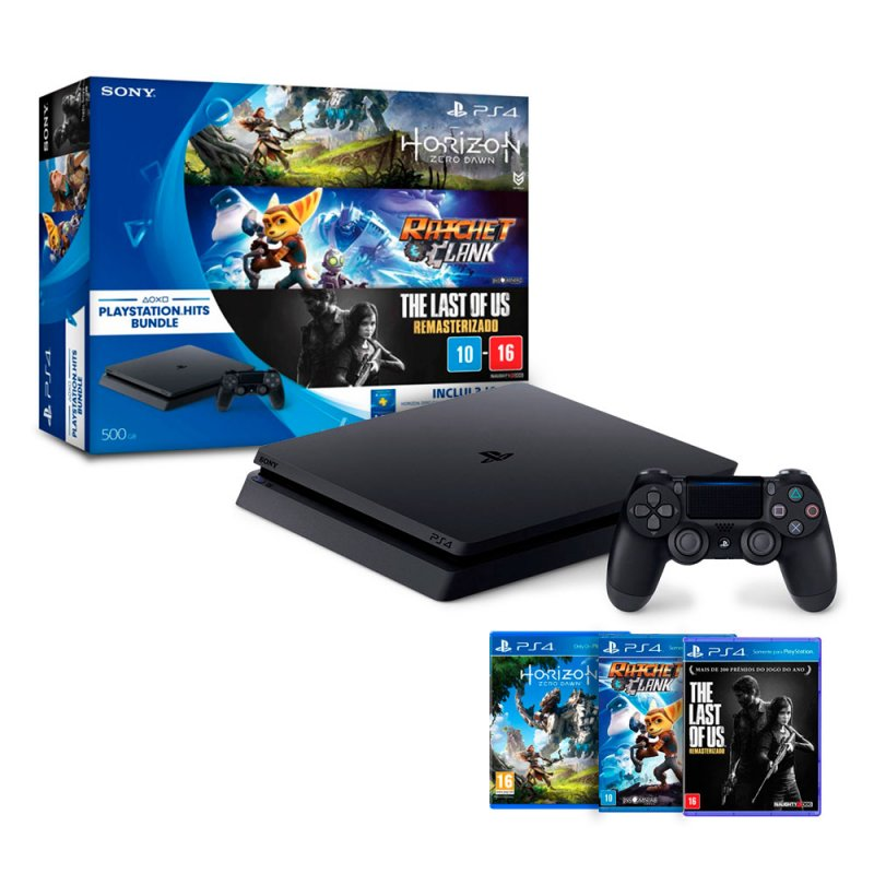 console playstation 4 slim sony hd 500gb 3 jogos em promo o no oferta esperta. Black Bedroom Furniture Sets. Home Design Ideas