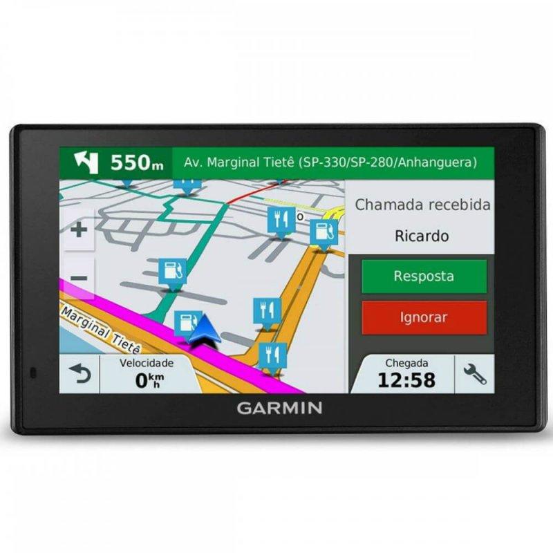 GPS Automotivo Garmin DriveAssist 50LM América do Sul com Câmera Integrada Informática Preto GPS Touch Screen