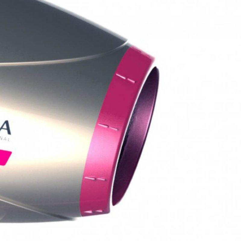 Secador de Cabelo Gama Italy Lumina Nano Tourmaline 127V Prata e Rosa 2200W e 6 Temperaturas