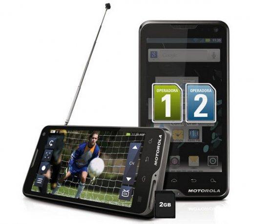 Smartphone Motorola XT687 Atrix TV / Cinza / Android 4.0 / Dual Chip / 8MP / Wi-Fi / 3G