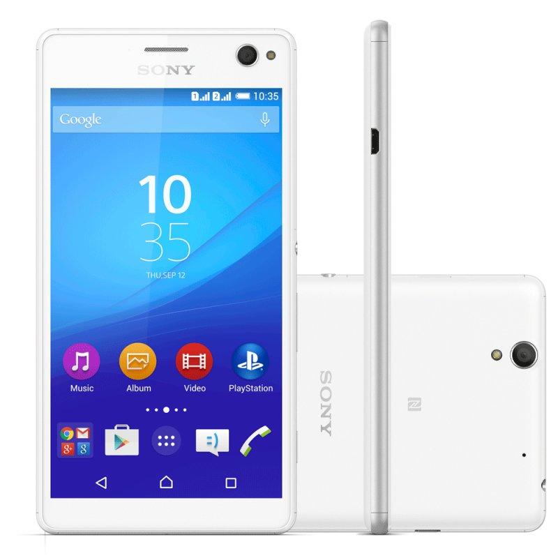 Sony Xperia C4 Dual Chip E5343 Câmera 13MP 5.5 ´ Android 5.0 16GB Branco / Desbloqueado