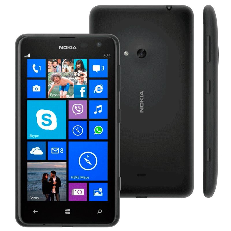 Smartphone Nokia Lumia 625 4G Windows 8 Tela 4,7 ´ ´ Câmera 5MP Wi - Fi Bluetooth 8GB Preto / Desbloqueado