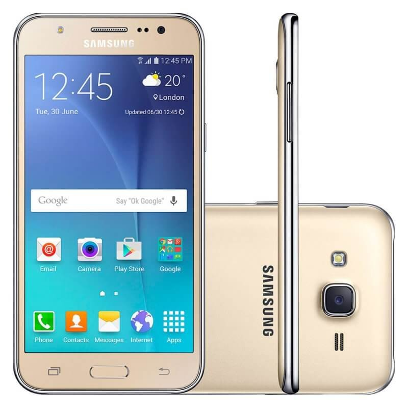 Smartphone Samsung Galaxy J5 Duos Dourado 5 ´ 4G 13MP QuadCore 16GB com Flash Frontal Tecnologia 5 polegadas Dourado