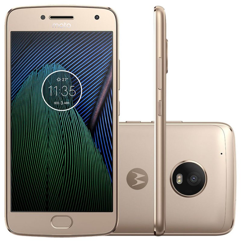 Smartphone Motorola Moto G5 Plus Ouro 5,2 ´ TV Digital Camera 12MP 32GB e 2GB de RAM Tecnologia Ouro TFT IPS, FULL HD, 1080P.