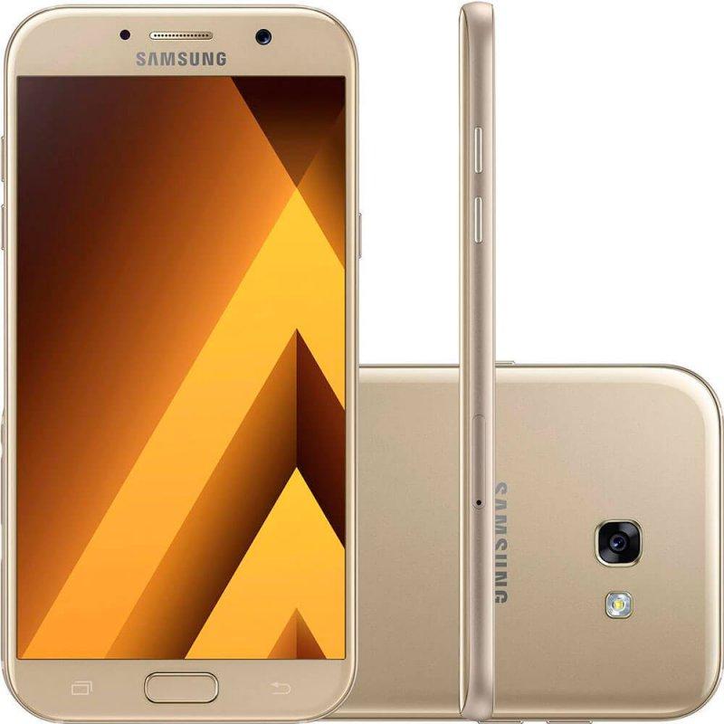 Smartphone Samsung Galaxy A7 2017 Dourado 5,7 ´ 32GB Dual Chip Câmera Frontal 16MP e 3GB de RAM Tecnologia Dourado Super Amoled