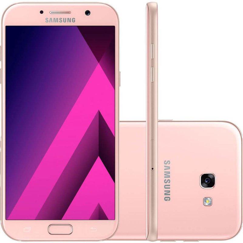 Smartphone Samsung Galaxy A7 2017 Rosa 5,7 ´ 32GB Dual Chip Câmera Frontal 16MP e 3GB de RAM
