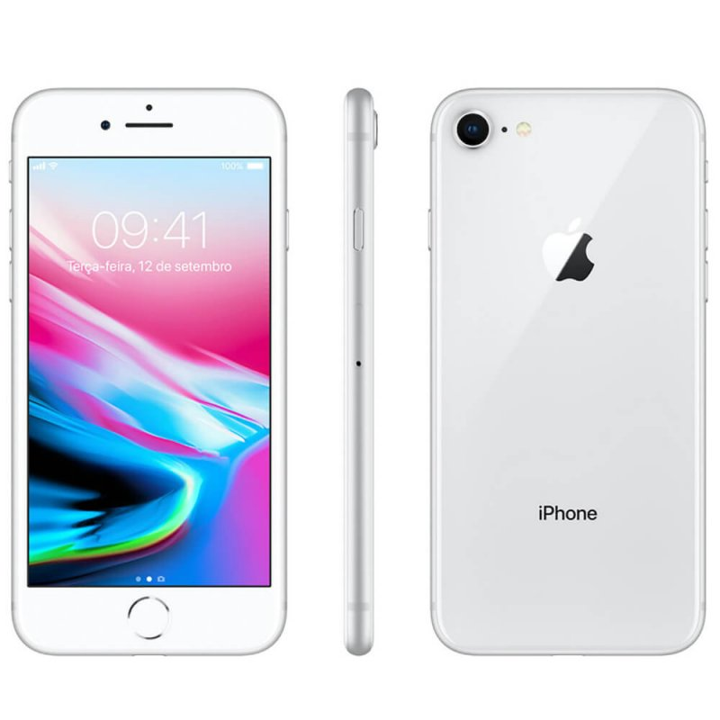 Iphone 8 Apple 256gb Prata Tela Retina Hd 4,7 Ios 11 4g e Câmera de 12 Mp