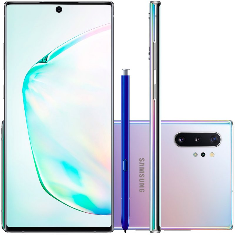 Smartphone Samsung Galaxy Note 10 Plus Prata 256gb 12gb Ram Tela De 6