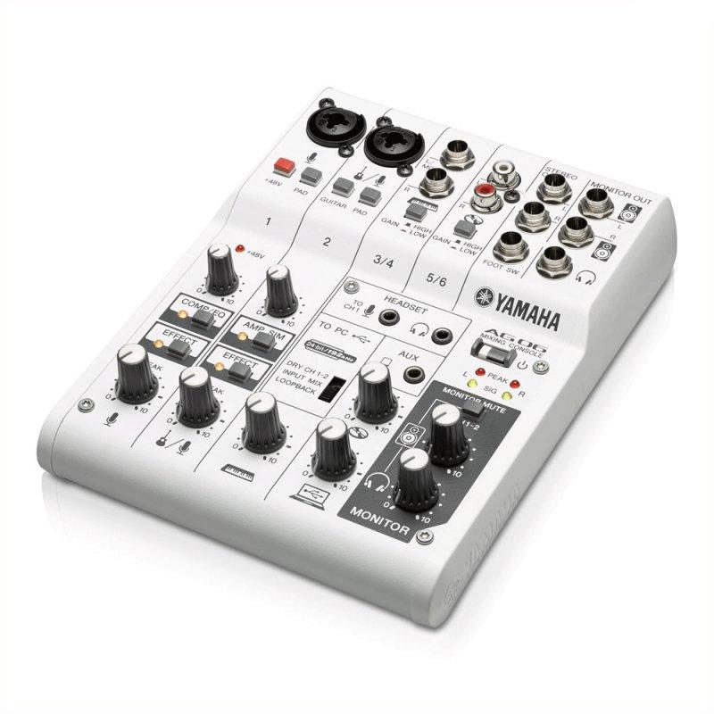 Mesa e Interface de Áudio USB Yamaha AG06 Branco 6 Canais
