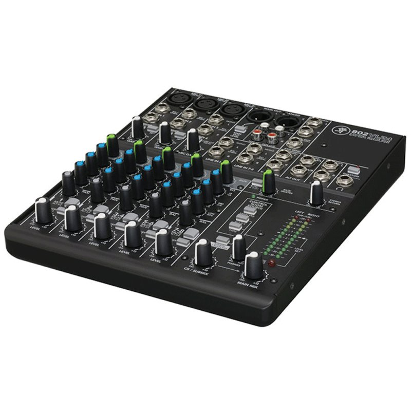 Mixer Analógico Mackie 802VLZ4 de 8 Canais com 1 Auxiliar e 3 Bandas de EQ