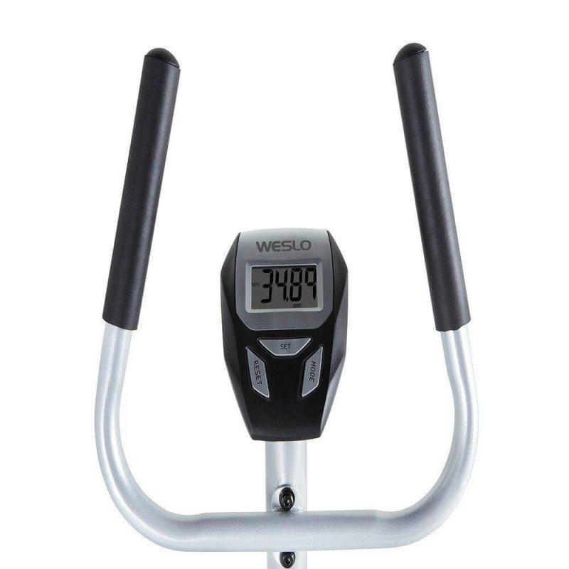 Bicicleta Ergometrica Weslo Vertical CT 2.4 Prata com painel em LCD Capacidade de Ate 114kg