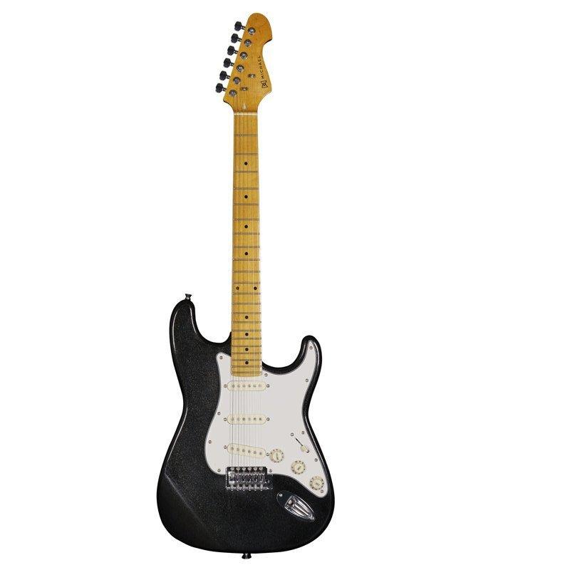Guitarra Strato Michael Linha Stonehenge Gm222n Mbk 6 Cordas 3 Captad