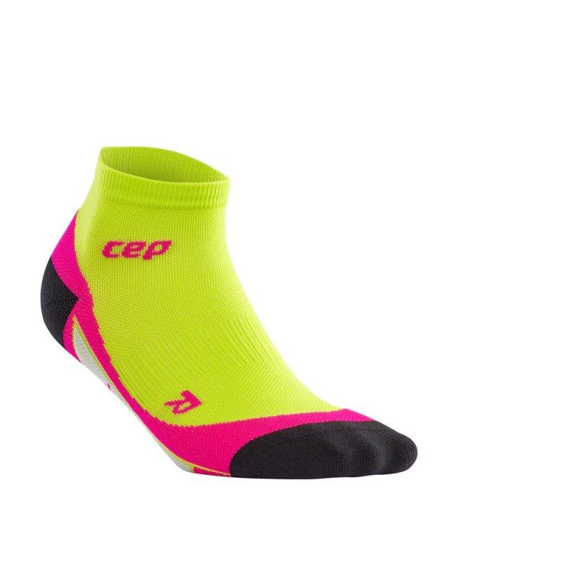 Meia CEP Low Cut Feminino Tamanho III Verde Limão/Pink
