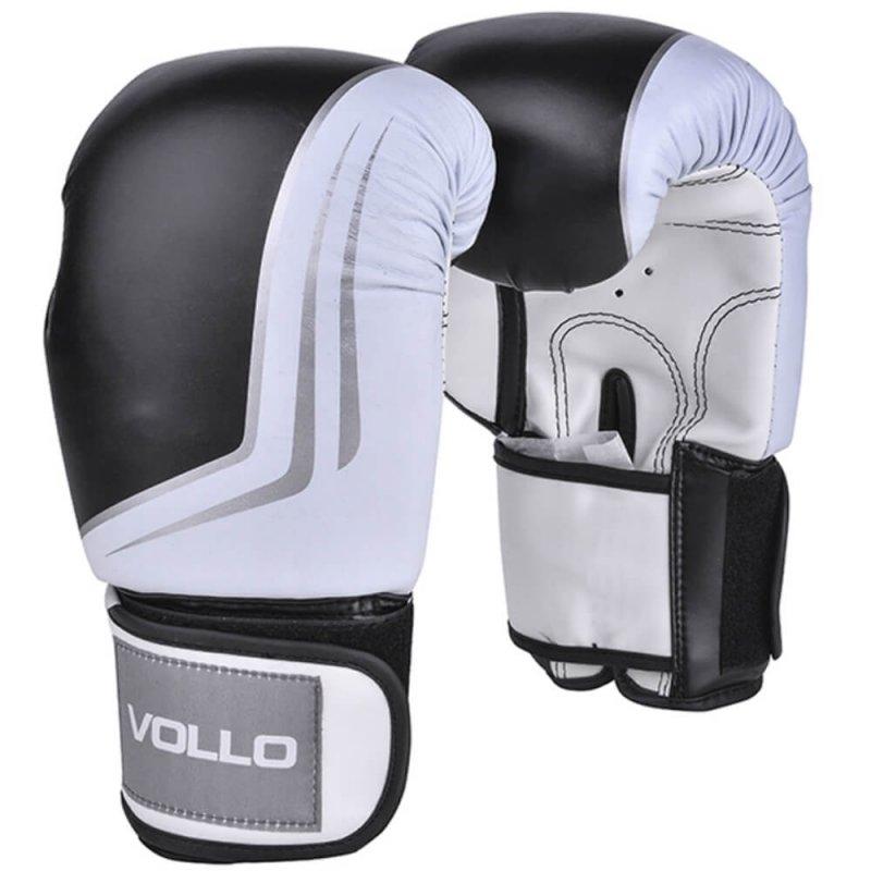Luva de Boxe Vollo VFG201-12 IFS Tamanho 12 Oz Preta e Branca