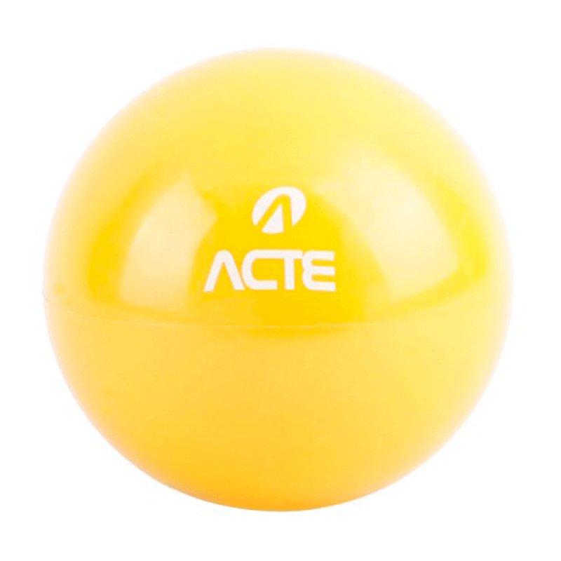 Bola Tonificadora com Peso Acte T56 Amarela Par com 2kg cada em PVC e Diâmetro de 14,5 cm