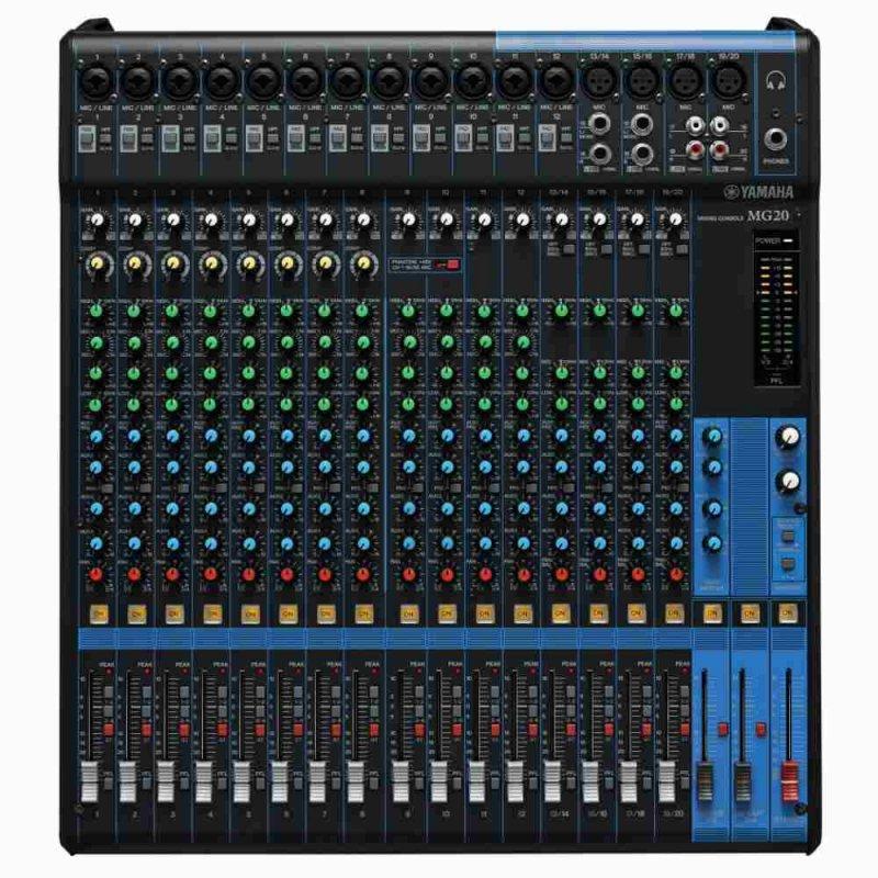 Mesa De Som Analógica Yamaha Mg20 Preta Com 20 Canais Pré-amplificado