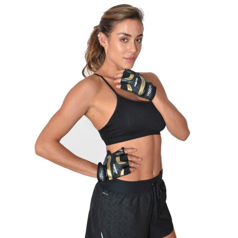 Luva de Musculação Preta e Dourada ProAction By Sabrina Sato - P