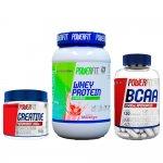 Kit Whey Protein Standard Powerfit Morango, Creatine Monohydrate Powerfit e BCAA Powerfit