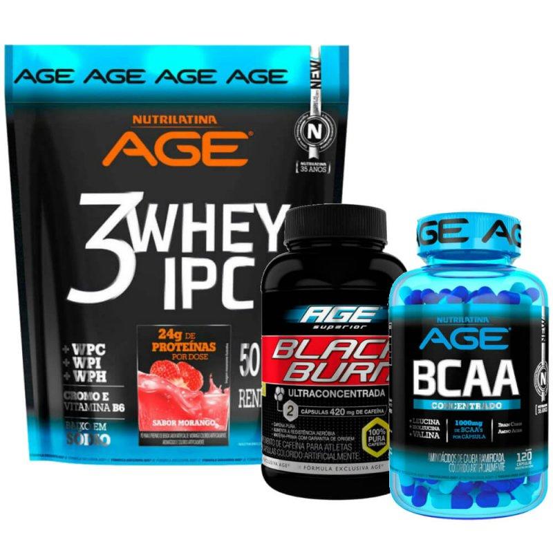 KIT Black Burn AGE, Aminoacd BCAA AGE 1000mg e 3 Whey IPC AGE