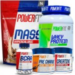 KIT POWERFIT: Mass 8500, Pre Charge, Creatine, BCAA e Whey Protein Standard