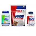 Kit Mass Hypercaloric 8500 Powerfit Chocolate, Whey Standard Powerfit Baunilha e BCAA PowerFit