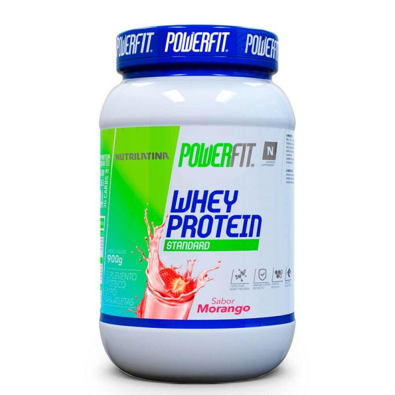 Whey Protein Standard Nutrilatina Powerfit - 900g - Morango