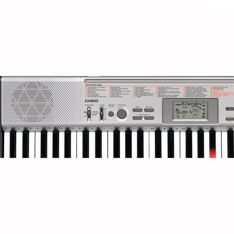 Teclado Casio LK-130 Cinza com 61 Teclas Iluminadas e 100 Timbres S Key Lighting Keyboard