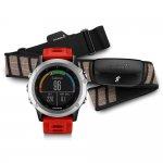 Relógio com Cinta para Monitoramento Cardíaco Garmin GPS Fenix 3 Prata com Pulseira Vermelha