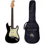 Guitarra SX SST62 Vintage series Plus 6 cordas 21 Trastes Ferragem Cromada Preto