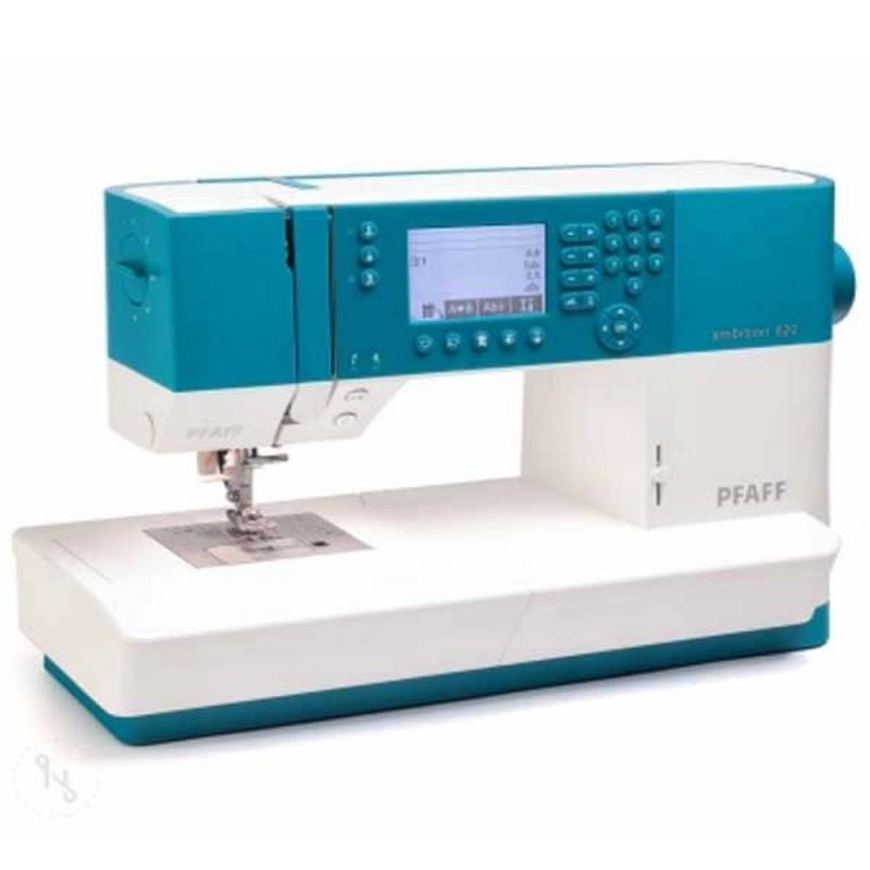 Máquina de costura Ambition 620 eletrônica de uso doméstico 136 pontos PFAFF Bivolt Branca e Azul