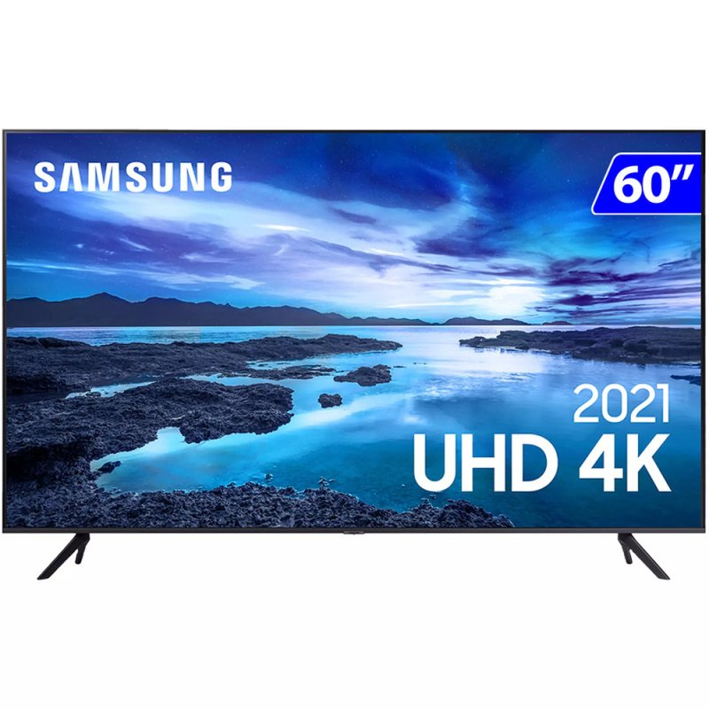 Samsung Smart TV 60 UHD 4K 60AU7700 Processador Crystal 4K Tela sem limites Visual Livre de Cabo