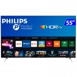 Smart TV Philips 55PUG762578 4K UHD P5 HDR10 Bluetooth Wi-Fi 3 HDMI 2 USB Borda Ultrafina Preta