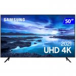 Smart TV Samsung 50 UHD 50AU7700 4K Processador Crystal Wi-Fi Tizen Comando de Voz Preto