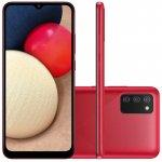 Smartphone Samsung Galaxy A02s Câmera Tripla de Tela Infinita de 6.5 32GB 3GB RAM Vermelho