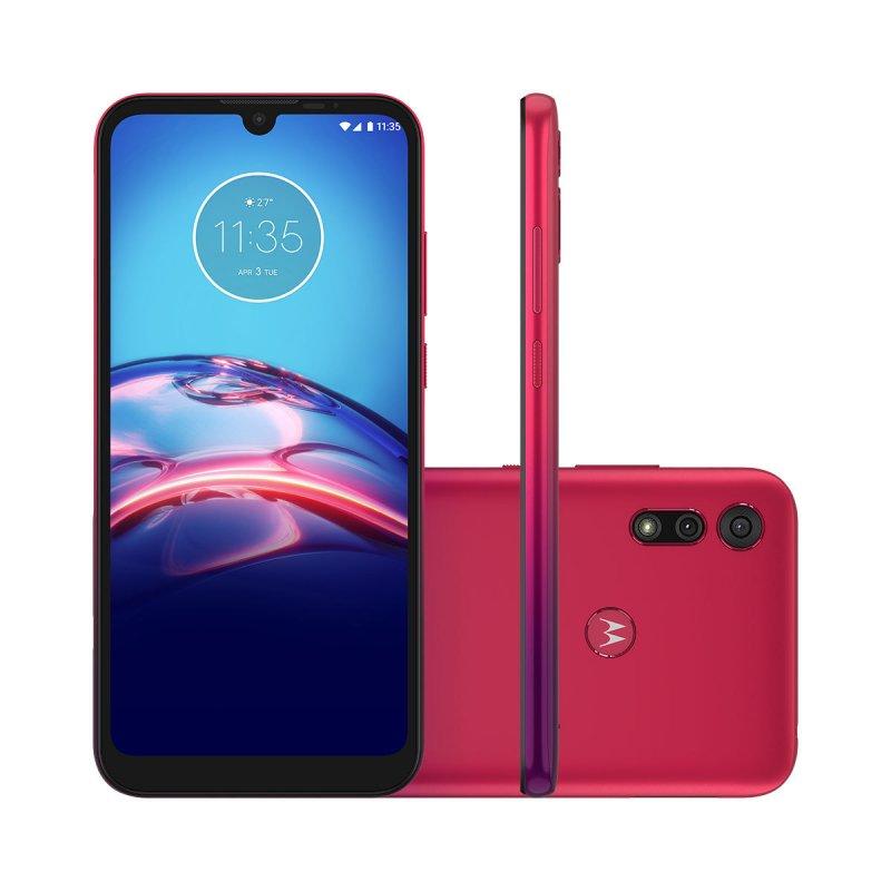 Smartphone Motorola Moto E6S 32GB Dual Chip Tela 6.1 4G 13MP 2MP Vermelho Magenta