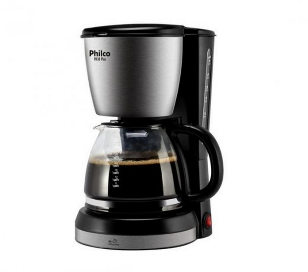 Cafeteira Elétrica Philco PH30 Plus / Preto Inox / 800W / 30 Cafezinhos / Filtro Permanente / 220V