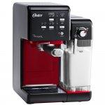 Cafeteira Oster Primalatte Evolution 220V Preta e Vermelha 1170W e 19 Bars de Pressão..