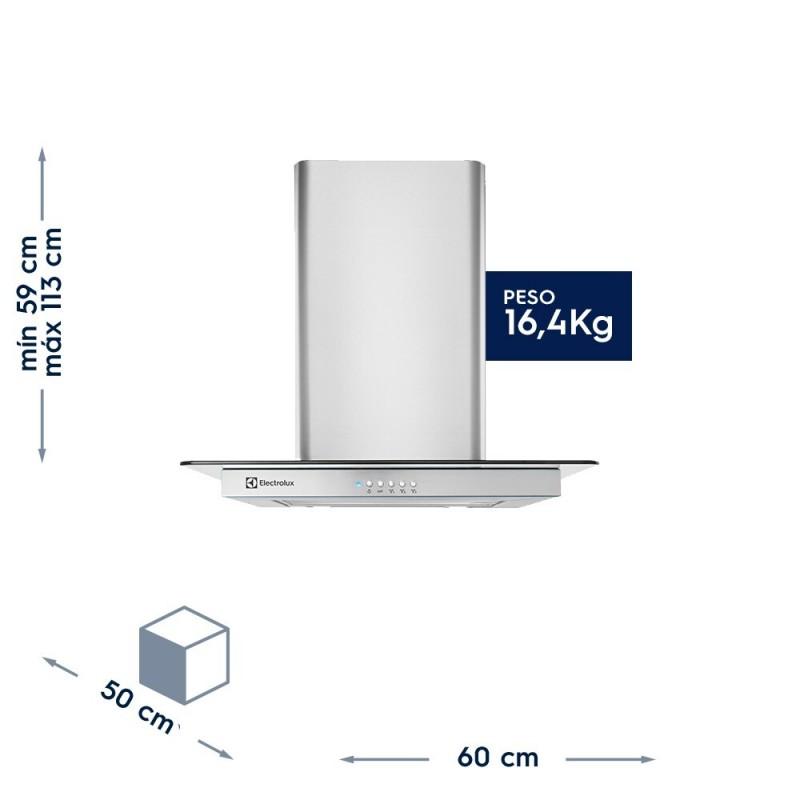 Coifa de inox com campana em vidro 220V (60CVS)
