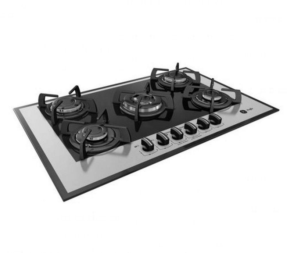 Cooktop Glass GE / 5 Bocas / A Gás / 3 Potências de Queimadores / Preto / Bivolt