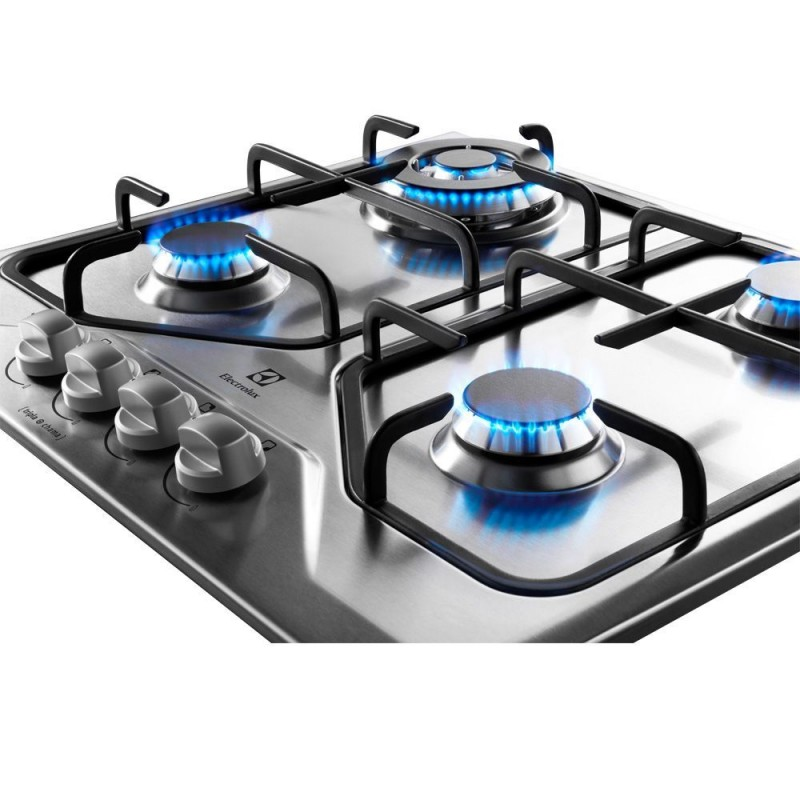 Cooktop Electrolux 4 bocas a Gás Inox GT60X Bivolt