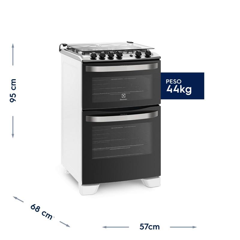 Fogão 4 Bocas Electrolux Branco Automático com 2 Fornos e Porta Full Glass Bivolt (56DBA)